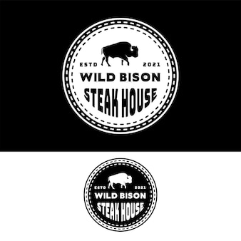 Design de logotipo do selo bison buffalo angus bull steak house