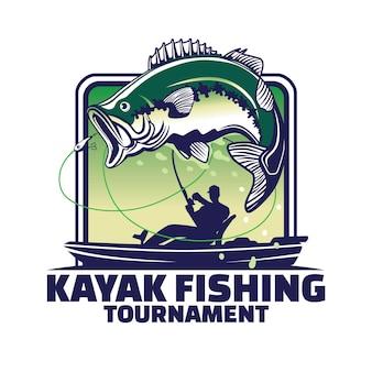 Design de logotipo do torneio de pesca de caiaque