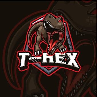 Design de logotipo do trex mascote esport gaming
