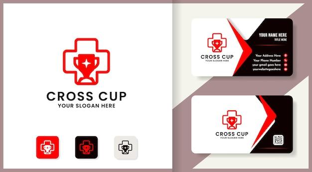 Design de logotipo do troféu cross health, design de inspiração para saúde e medicina inteligente