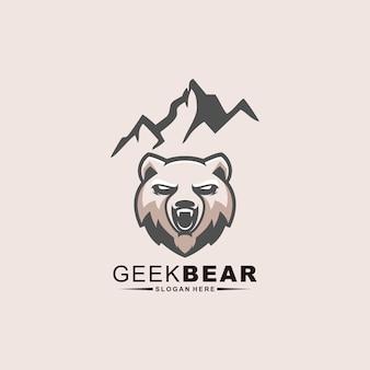 Design de logotipo do urso geek