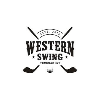 Design de logotipo do western country texas golf, golfe com vara cruzada retro vintage