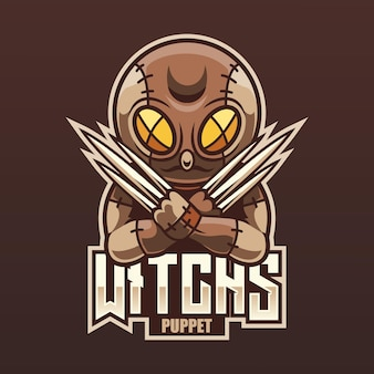 Design de logotipo do witch puppet mascot esport