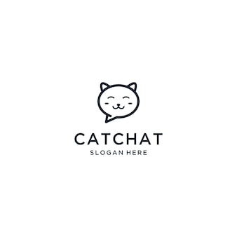 Design de logotipo doce gato bate-papo