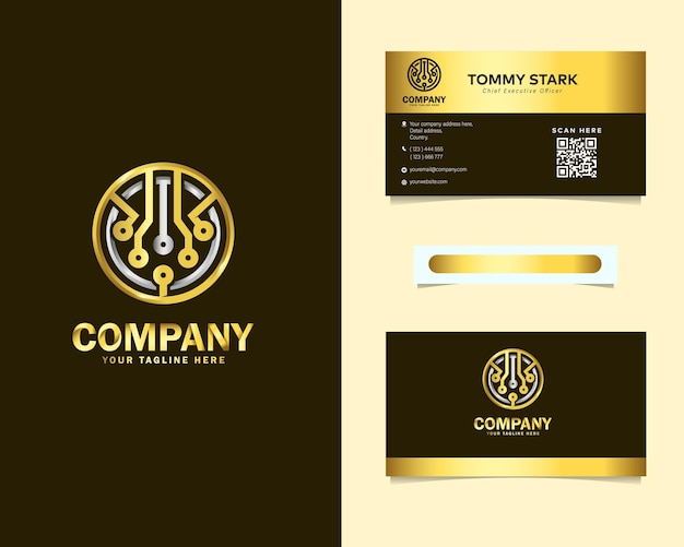 Design de logotipo dourado de luxo abstrato com tecnologia arredondada e modelo de cartão de visita de papelaria