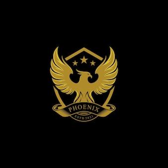 Design de logotipo dourado de luxo phoenix escudo