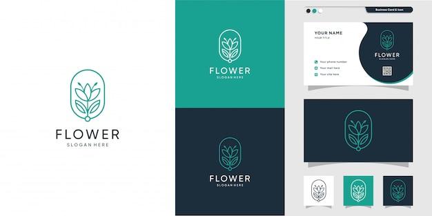 Design de logotipo e cartão de flor. beleza, moda, salão, premium