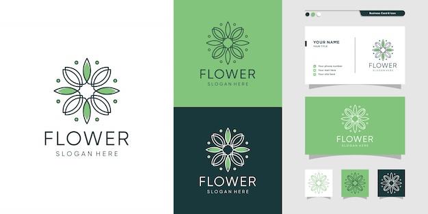 Design de logotipo e cartão de flor. beleza, moda, salão