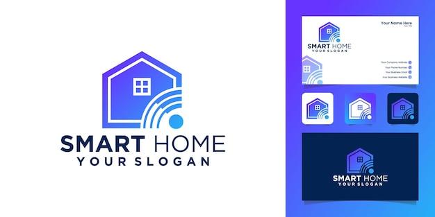 Design de logotipo e cartão de visita com combinação de casa e wi-fi