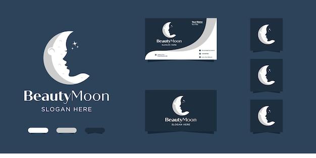 Design de logotipo e cartão de visita da beleza da lua