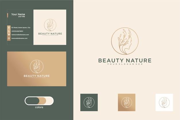 Design de logotipo e cartão de visita da beleza da natureza