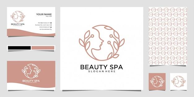 Design de logotipo e cartão de visita da beleza spa feminino