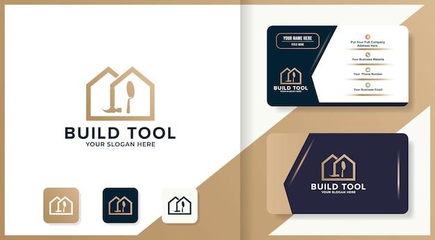 Design de logotipo e cartão de visita da casa de ferramentas