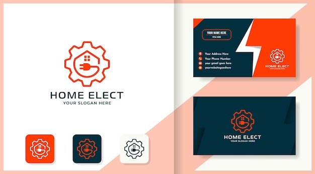 Design de logotipo e cartão de visita da casa de plugue de engrenagem