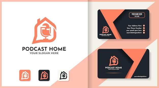 Design de logotipo e cartão de visita da casa de podcast