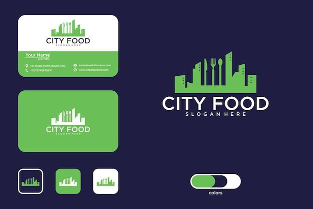 Design de logotipo e cartão de visita da comida da cidade