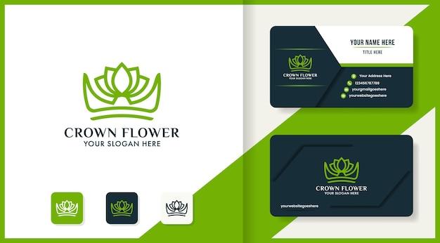 Design de logotipo e cartão de visita da folha da coroa da beleza