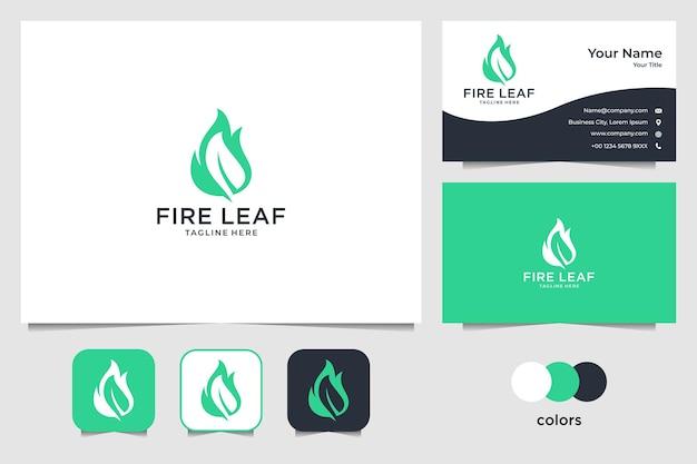 Design de logotipo e cartão de visita da folha de fogo verde