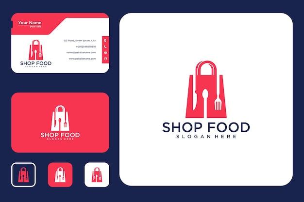 Design de logotipo e cartão de visita da loja de alimentos
