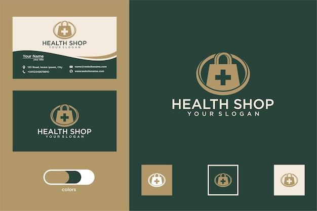 Design de logotipo e cartão de visita da medical shop health