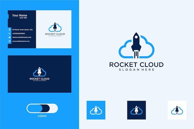 Design de logotipo e cartão de visita da nuvem de foguete