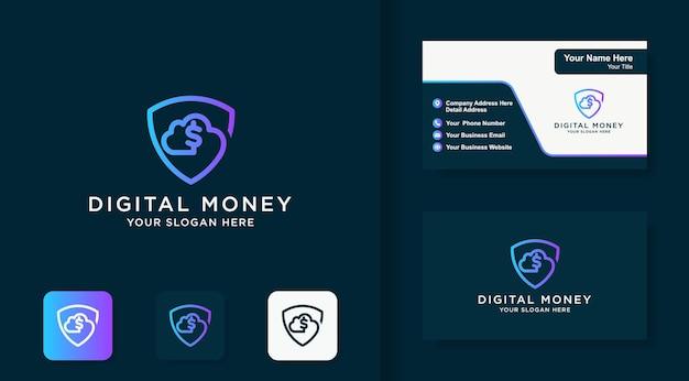 Design de logotipo e cartão de visita da nuvem digital de dinheiro