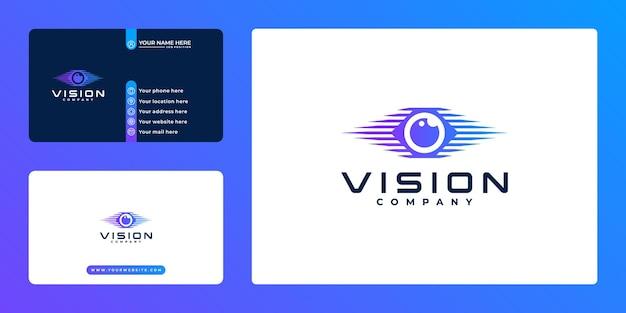 Design de logotipo e cartão de visita da tecnologia creative eye