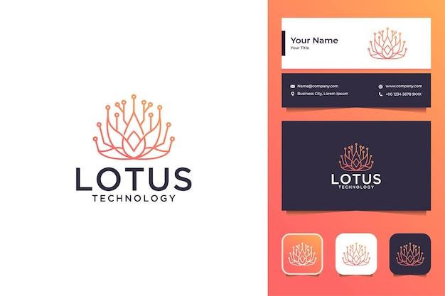 Design de logotipo e cartão de visita da tecnologia de beleza da lotus