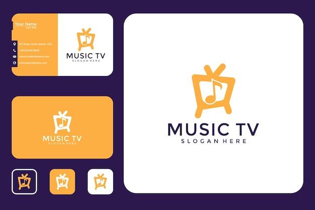Design de logotipo e cartão de visita da televisão de música