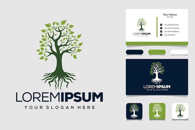 Design de logotipo e cartão de visita das raízes da árvore