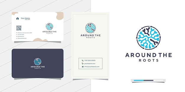 Design de logotipo e cartão de visita das raízes do círculo