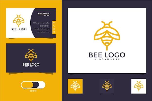 Design de logotipo e cartão de visita de abelha de mel