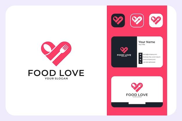 Design de logotipo e cartão de visita de amor por comida