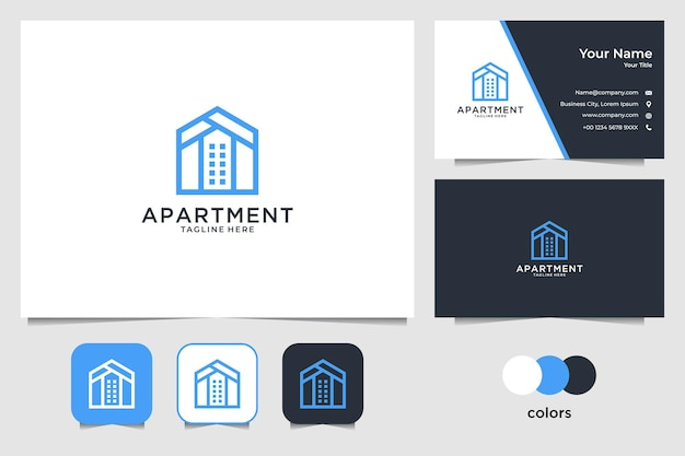 Design de logotipo e cartão de visita de apartamentos imobiliários