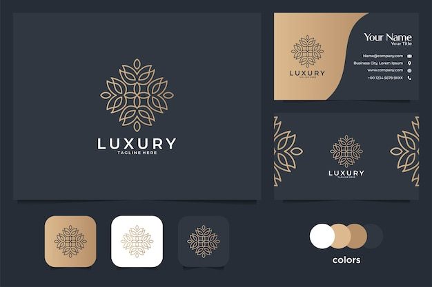 Design de logotipo e cartão de visita de arte de linha bonita de luxo. bom uso para logotipo de spa, ioga, salão, decoração e moda