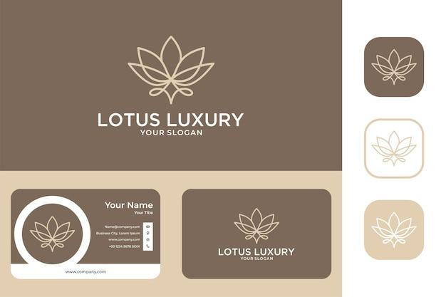 Design de logotipo e cartão de visita de arte de linha de luxo da lotus