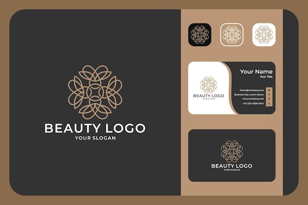 Design de logotipo e cartão de visita de arte em linha de flores de beleza