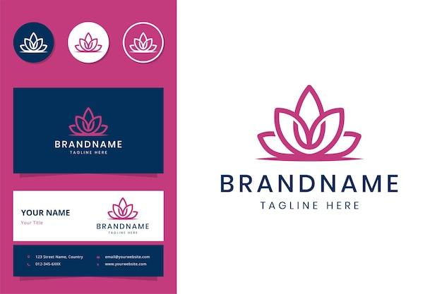 Design de logotipo e cartão de visita de arte em linha de flores