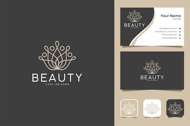 Design de logotipo e cartão de visita de beleza de lótus de linha de arte de luxo
