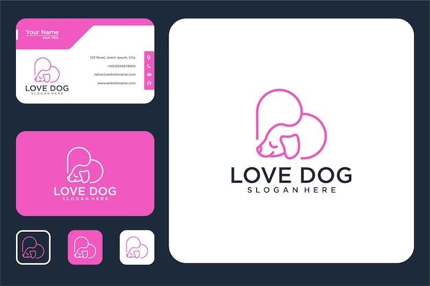 Design de logotipo e cartão de visita de cachorro amoroso