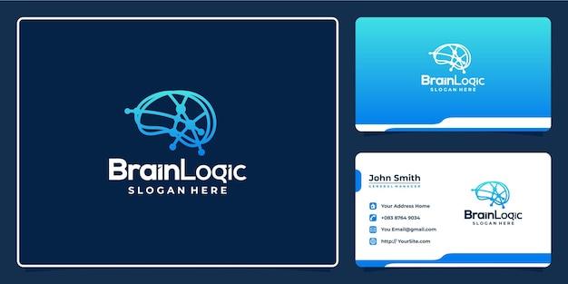 Design de logotipo e cartão de visita de conexão de ponto lógico do cérebro