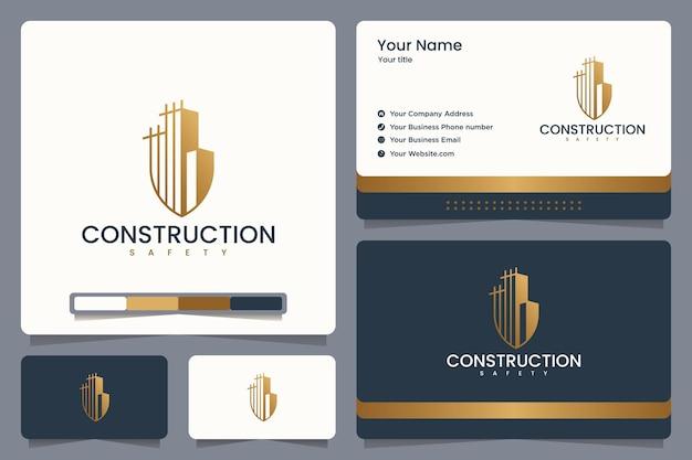 Design de logotipo e cartão de visita de construção de segurança