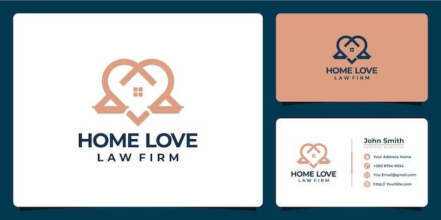 Design de logotipo e cartão de visita de escritório de advocacia de amor doméstico