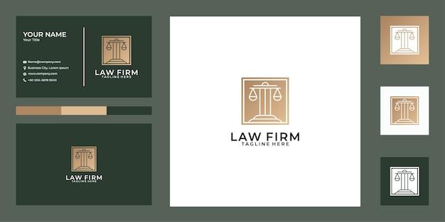 Design de logotipo e cartão de visita de escritório de advocacia elegan