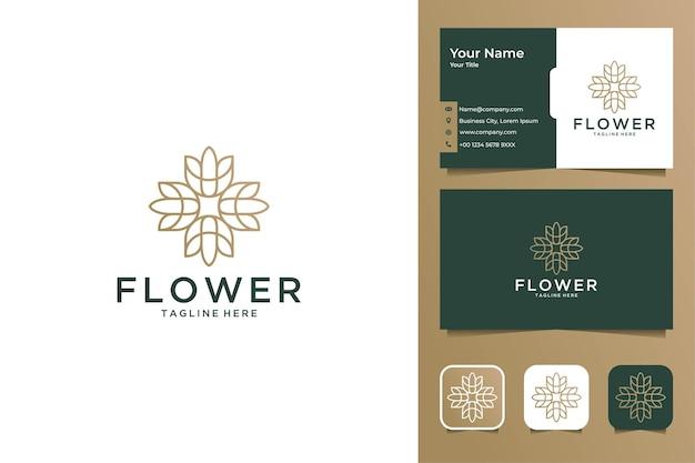 Design de logotipo e cartão de visita de estilo de arte de linha de flores de luxo