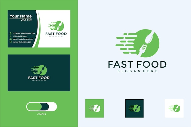 Design de logotipo e cartão de visita de fast food