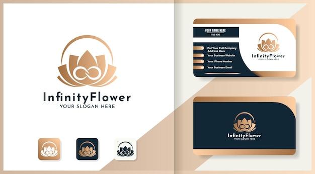 Design de logotipo e cartão de visita de flores infinitas de beleza
