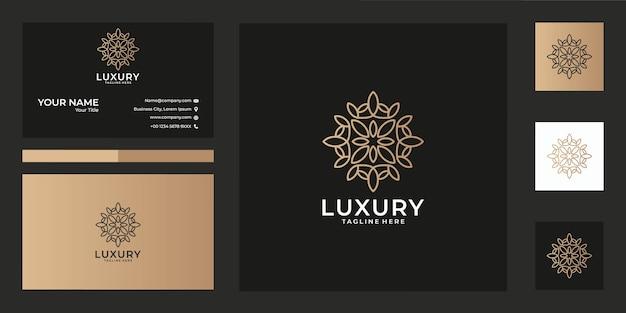Design de logotipo e cartão de visita de geometria de beleza de luxo, bom uso para moda, spa, decoração, salão, logotipo de ornamento