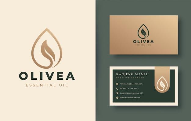 Design de logotipo e cartão de visita de gota de água / azeite