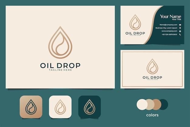 Design de logotipo e cartão de visita de gota de óleo